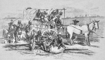 An engraving from the 31 Jan. 1863 edition of Harper's Weekly shows former slaves who took refuge at a Union camp on Roanoke Island. The Federally occupied island quickly became a formal colony for newly freed slaves after issuance of the Emancipation Proclamation on 1 Jan. 1863.