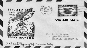 Commemorative envelope postmarked 1 Nov. 1940, the day airmail service began in Rocky Mount (via a flight that originated in Norfolk, Va., and had stops in Rocky Mount, Raleigh, Greensboro, and Asheville before terminating in Knoxville, Tenn.). Photograph courtesy of Tony Crumbley.