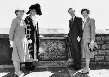 Ceremonies commemorating the four hundreth anniversary of the Roanoke voyages began at Plymouth, England, in April 1984 with the unveiling of a plaque on the waterfront commemorating the 27 Apr. 1584 departure of the colonists and explorers. Shown here are the lord mayor of Plymouth, Peter Whitfield, and his wife (left) and North Carolina governor James B. Hunt and Mrs. Hunt. North Carolina Collection, University of North Carolina at Chapel Hill Library.