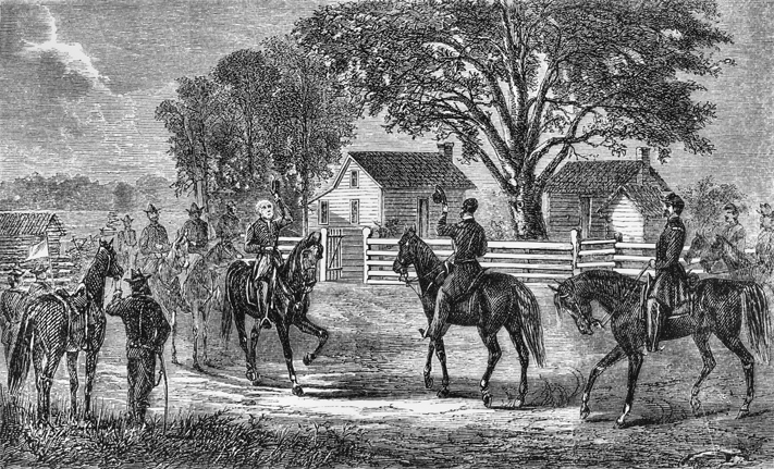 An 1865 engraving depicting the meeting between Gens. Joseph E. Johnston and William T. Sherman at Bennett Place. North Carolina Collection, University of North Carolina at Chapel Hill Library.