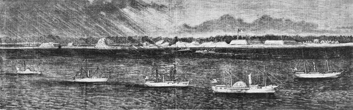 Harper's Weekly illustration from 3 Dec. 1864 showing Union ships off New Inlet blocking the approach to Wilmington via the Cape Fear River. Fort Fisher is in the background. North Carolina Collection, University of North Carolina at Chapel Hill Library.