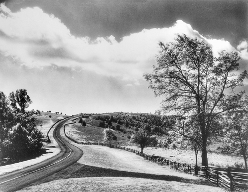 The Blue Ridge Parkway near Doughton Park, ca. 1950s. Photograph by Gus Martin. North Carolina Collection, University of North Carolina at Chapel Hill Library.