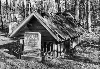 Grave and grave shed in northeastern Union County. Photograph (taken ca. 1990) courtesy of Douglas Helms.