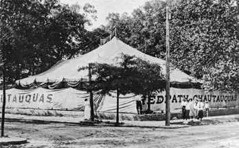 Tent of the Redpath Chautauqua at Goldsboro, ca. 1915. North Carolina Collection, University of North Carolina at Chapel Hill Library.