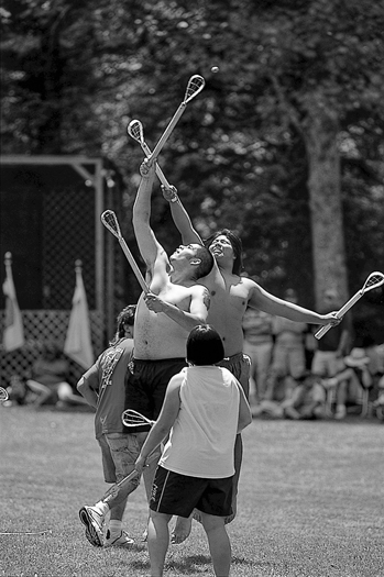 Cherokee stickball game at the Fading Voices Festival, held annually in the Snowbird community near Robbinsville. Photograph by Murray Lee.