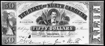 North Carolina $50 note issued in 1863. In the center of the note is a likeness of North Carolina governor Zebulon B. Vance. North Carolina Collection, University of North Carolina at Chapel Hill Library.