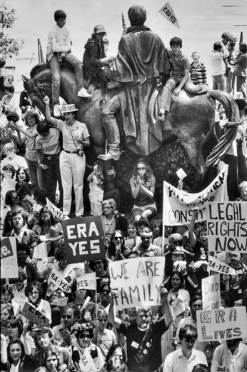 Supporters of the Equal Rights Amendment surround a statue of Andrew Jackson on the capitol grounds in Raleigh, 1981. Raleigh News and Observer.