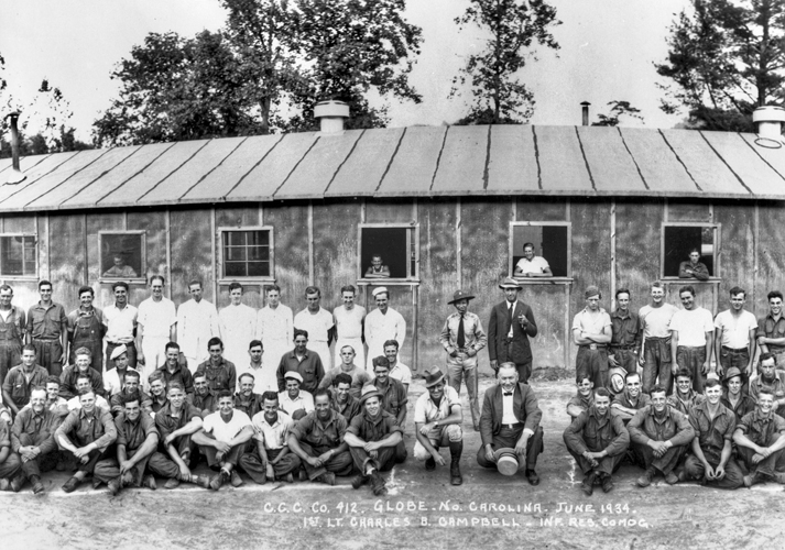 Civilian Conservation Corps workers in front of the barracks in which they were housed at Globe, 1934. Courtesy of North Carolina Office of Archives and History, Raleigh.
