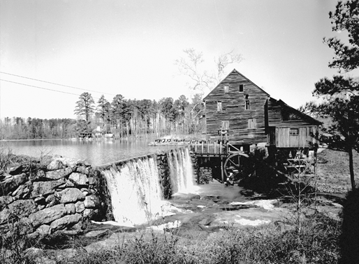 Yates Mill, a gristmill in Wake County, 1958. Courtesy of North Carolina Office of Archives and History, Raleigh.