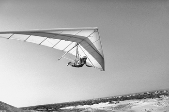 A hang glider at Jockey's Ridge at Nags Head. Photograph courtesy of North Carolina Division of Tourism, Film, and Sports Development.