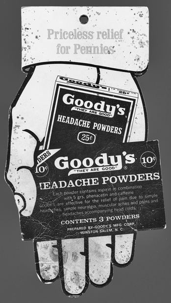 Goody's Headache Powder advertising tag designed to be hung from a string in a store. North Carolina Collection, University of North Carolina at Chapel Hill Library.