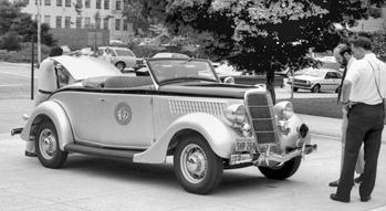 A 1935 Highway Patrol car donated to the North Carolina Transportation Museum in 1983. Courtesy of North Carolina Office of Archives and History, Raleigh.