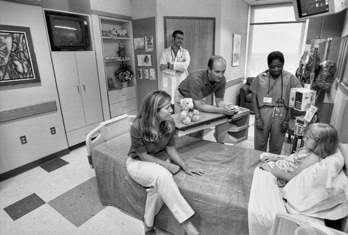 Patient's room in the North Carolina Children's Hospital in Chapel Hill, 2002. Photograph courtesy of UNC Health Care.