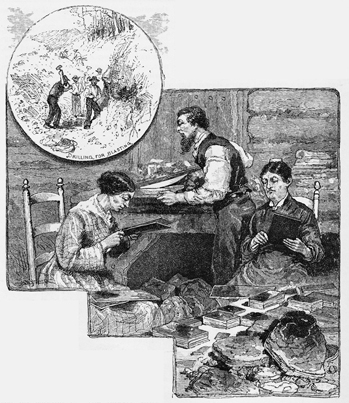 "This engraving from an 1880 issue of Harper's New Monthly Magazine shows mica being mined, split, and cut near Waynesville. The accompanying text noted that the ""flakes are cut in oblong squares by enormous shears, packed, and sent north. Heaps of broken wafer-like waste sheets littered the whole side of the mountain, sparkling like silver in the sun."" North Carolina Collection, University of North Carolina at Chapel Hill Library."