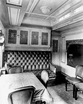 "Private railroad dining car that belonged to James B. Duke and was named ""Doris"" for his only child. The car was donated to the North Carolina Transportation Museum in 1980. Courtesy of North Carolina Office of Archives and History, Raleigh."