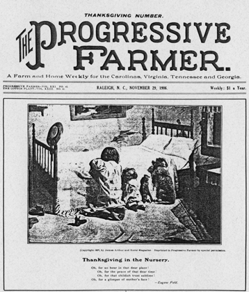 Front page of the Thanksgiving issue of the Progressive Farmer, 1906. North Carolina Collection, University of North Carolina at Chapel Hill Library.