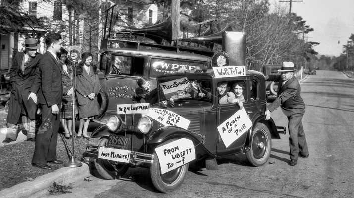 In 1931 Raleigh radio station WPTF broadcast the marriage of Felton Williams and Peggy Fussell, shown here looking out of the car window. Courtesy of North Carolina Office of Archives and History, Raleigh.