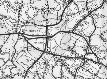 Map of Shelby, a round town until 1957. North Carolina Collection, University of North Carolina at Chapel Hill Library.