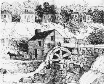 The Schenck-Warlick cotton mill, the first cotton mill in North Carolina. David Schenck Papers, no. 652, Southern Historical Collection, Wilson Library, UNC-Chapel Hill.