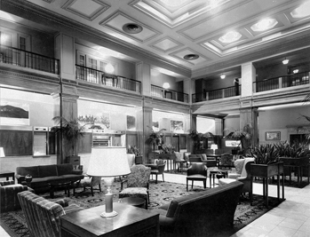 Lobby of the Sir Walter Hotel. Courtesy of North Carolina Office of Archives and History, Raleigh.