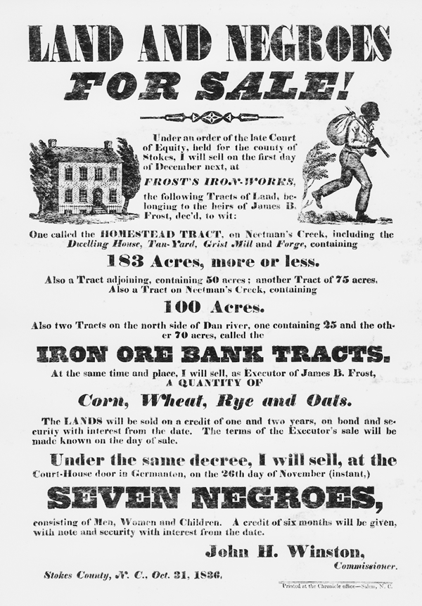 cbf29c29 A broadside circulated in the Stokes County area in 1836 advertising the  sale of land and slaves. North Carolina Collection, University of North  Carolina at ...