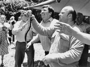 Snake handling at a nondenominational church in Canton, 1985. Photograph by Bob Scott. Courtesy of the Asheville Citizen-Times.