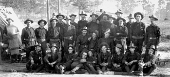 The Catawba County Boys, Company A, 1st North Carolina Regiment, Seventh Army Corp, pose beside a tent at Camp Cuba Libre in Jacksonville, Fla., 30 July 1898. Courtesy of North Carolina Office of Archives and History, Raleigh. Call no. N_93_12_12.