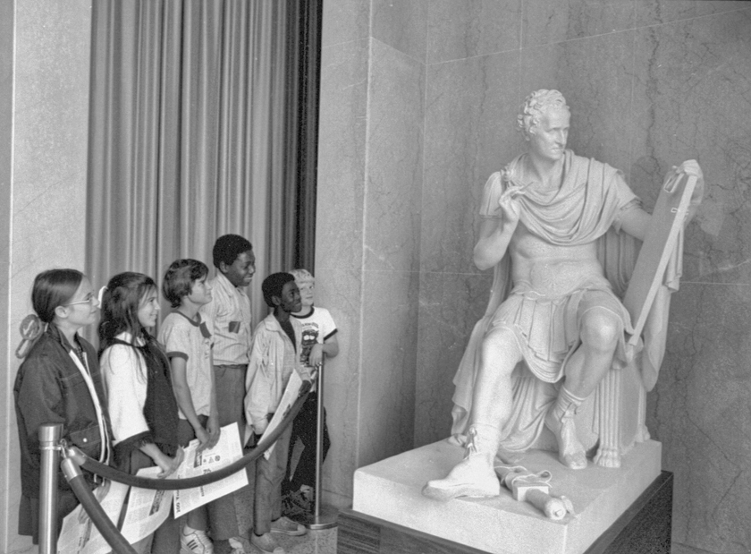 Schoolchildren view Canova's statue of George Washington, 1972. Courtesy of North Carolina Office of Archives and History, Raleigh.