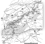 The Appalachian Trail in North Carolina. Map by Mark Anderson Moore, courtesy North Carolina Office of Archives and History, Raleigh. (Click to view map.)