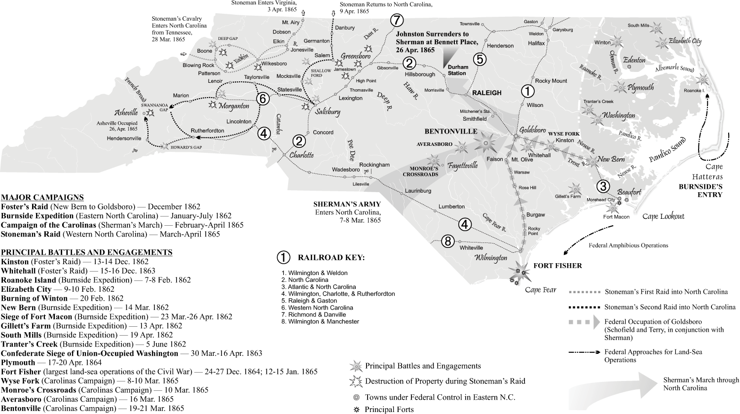 Map - Civil War Campaigns and Battles | NCpedia