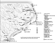 Lifesaving stations and lighthouses. Map by Mark Anderson Moore, courtesy North Carolina Office of Archives and History, Raleigh. (Click to view map.)