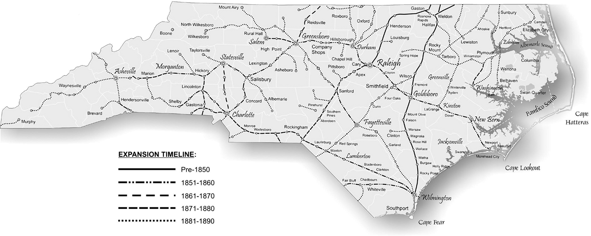 prinl railroad lines 1890 map by mark anderson moore courtesy north carolina office of archives and history raleigh click to view map