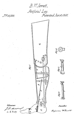 Patent for Jewett's artificial leg