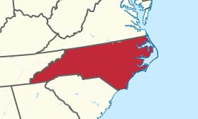 Map excerpt showing North Carolina in red. Map of the United States with North Carolina highlighted, by TUBS, CC BY-SA 3.0, Wikimedia Commons.