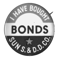 Individuals often wore buttons declaring that they had bought war bonds.
