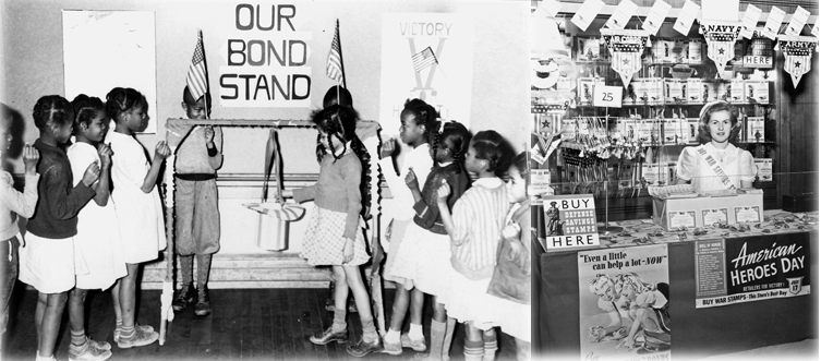 Adults and Children bought war bonds and stamps at stands set up everywhere from movie theaters to bank lobbies (right) like the one where this middle schooler volunteered. Some schools, like Burton Elementary in Durham (left), held a monthly drive where students contributed coins to buy bonds.
