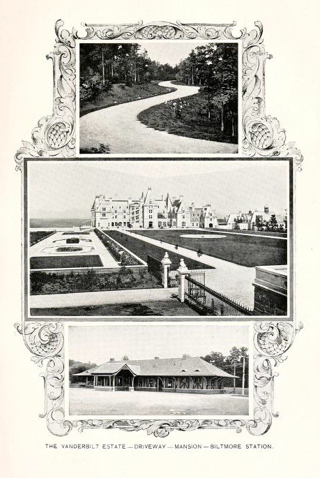 Collage of photographs of the Biltmore Estate, from <i>North Carolina and Its Resources,</i> issued by the North Carolina State Board of Agriculture, published 1896 by M.I. & J.C. Stewart, Public Printers and Binders, Winston, North Carolina.  Presented on Archive.org.