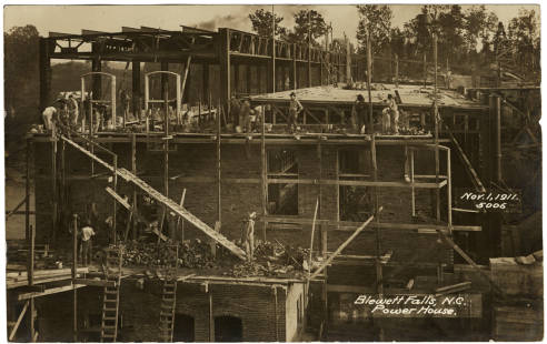 Blewett Falls, N.C., Power House, Nov. 1, 1911. Photograph by Frank Marchant. Image courtesy of Digital NC.