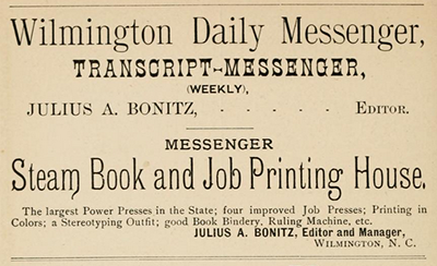 An 1890 advertisement for Julius A. Bonitz's newspaper and printing press. Image from the Internet Archive.