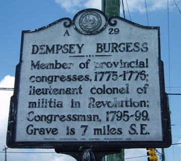 Photograph of the Dempsey Burgess historical marker, North Carolina Highway Historical Marker Program.  Courtesy of the N.C. Office of Archives & History.