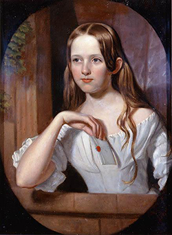Portrait of Anne Eliza Gales Taylor Busbee, mother of Fabius Haywood Busbee, by Vogel or Vogle, circa 1835-1840. Image from the North Carolina Museum of History.