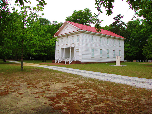 A 2013 photograph of the Old Bluff Presbyterian Church in Wade, which Farquhard Campbell helped found. Image from Flickr user Gerry Dincher.