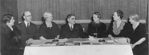 Meeting of the Society for the Preservation of Antiquities in 1939. From left to right: Margaret Smethurst; Christopher Crittenden; Adelaide Fries; Joseph Hyde Pratt, president; Janie Fetner Gosney; Ruth Coltrane Cannon; and Emily Gilliam Gary