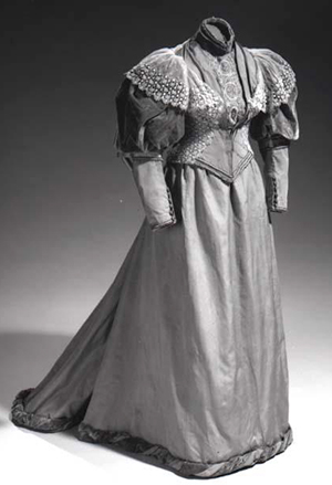 The dress Eleanor Carr, wife of Elias Carr, wore to his inaugural ball, 1893. Image from the North Carolina Museum of History.
