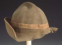 Thomas Lanier Clingman's hat, the brim sheared off by a shell at the Battle of Cold Harbor, 1864.