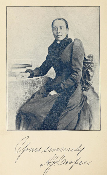 Portrait of Anna J. Cooper, from her <i>A Voice from the South</i>, published 1892 by the Aldine Printing House, Xenia, Ohio.