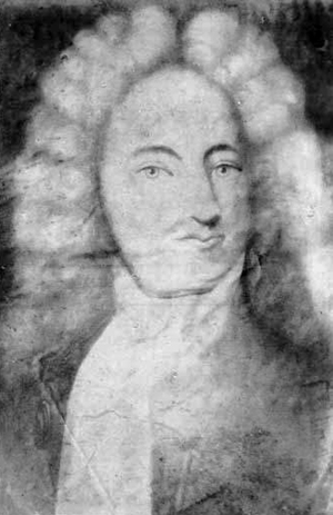 Photograph of a portrait of Robert Daniel by Henrietta Johnston (1674-1729). Image from the North Carolina Museum of History.