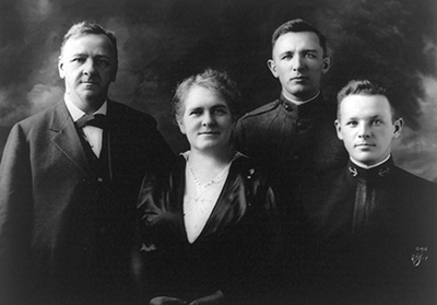 A photograph, circa 1918, of Josephus Daniels with his wife Addie Worth Bagley Daniels, and two of his four sons.  From the Library of Congress Prints & Photographs Online Catalog.