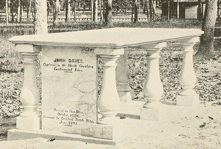The grave of John Daves at the Guilford Court House National Park, 1893. Image from Archive.org.