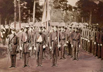 "A photograph of the ""Confederate Greys"" company of Duplin County. Image from the North Carolina Museum of History, Accession #: H.19XX.332.162."